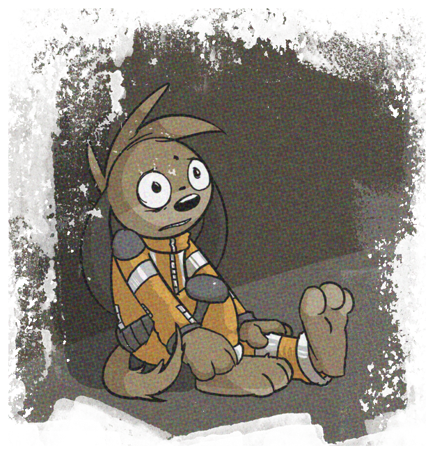 A picture of Thom, traumatised and miserable REZQ employee. Just because he's a cartoon animal doesn't mean the other characters will be.